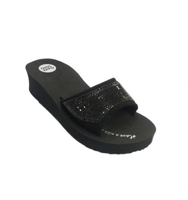 Wedge flip flops beach pool woman with bright shovel Gioseppo in black