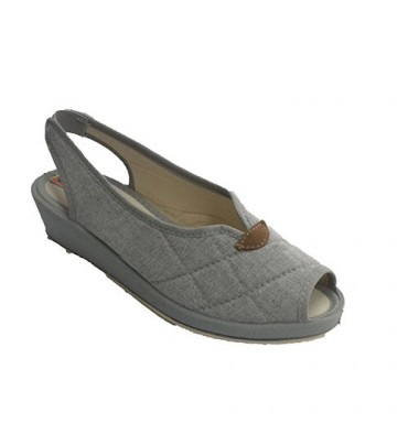 Open woman shoe with heel and toe vamp opening Soca in gray